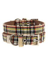 Brown Tartan Collar - Our Brown Checked Tartan collar is a traditional design which is stylish, classy and never goes out of fashion. It is lightweight and incredibly strong. The collar has been finished with chrome detailing including the eyelets and tip of the collar. A matching harness and bandana are available to pur...